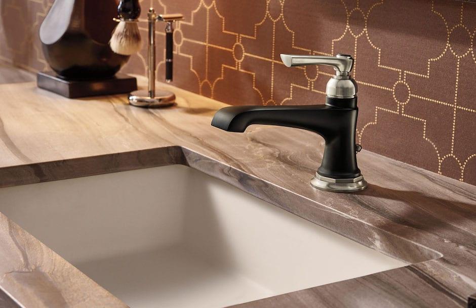 Brizo Matte Black and Nickel Bathroom Faucet At Taps Showrooms