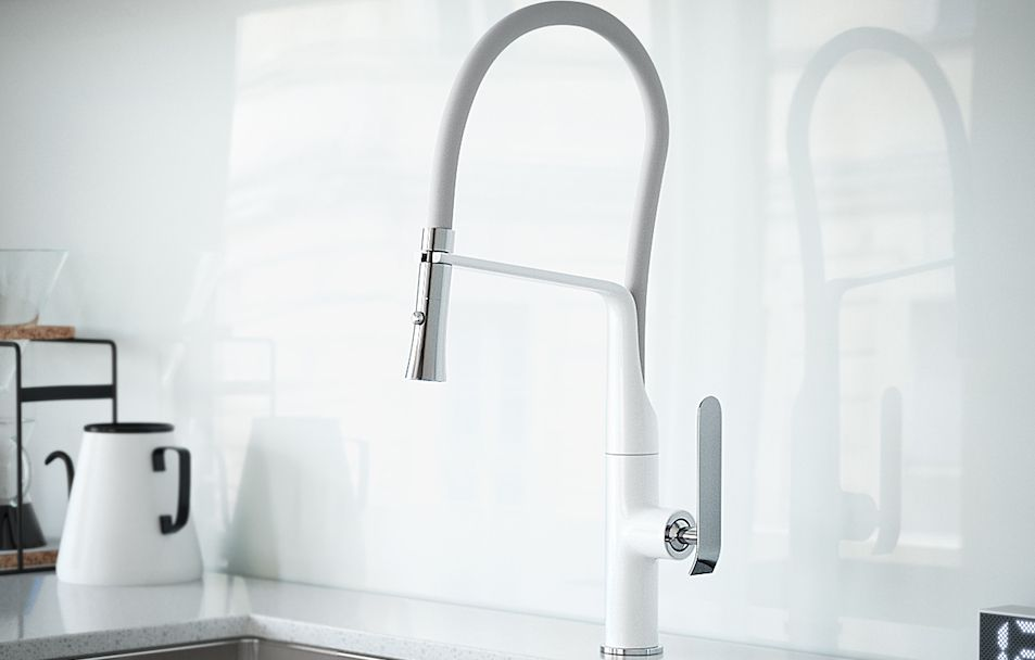 Frederick York kitchen faucet in white and grey