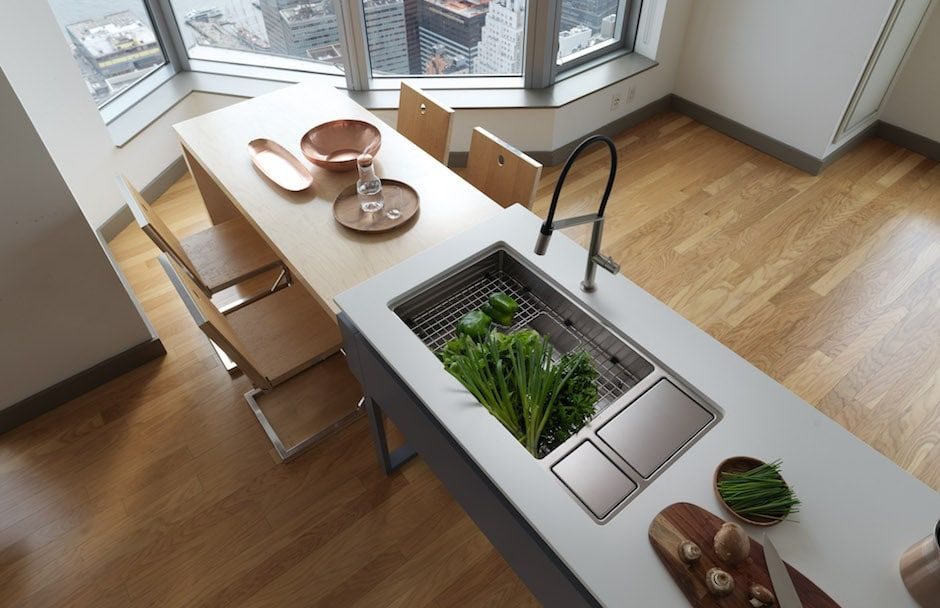 Franke Chef Centre Chillout Sink With Vegetables From TAPS Kitchen Showrooms