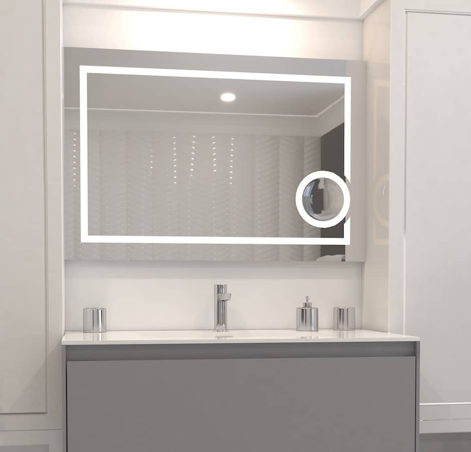 Rubi Faucet and Vanity Mirror With Lighting At TAPS Bath and Kitchen Showrooms