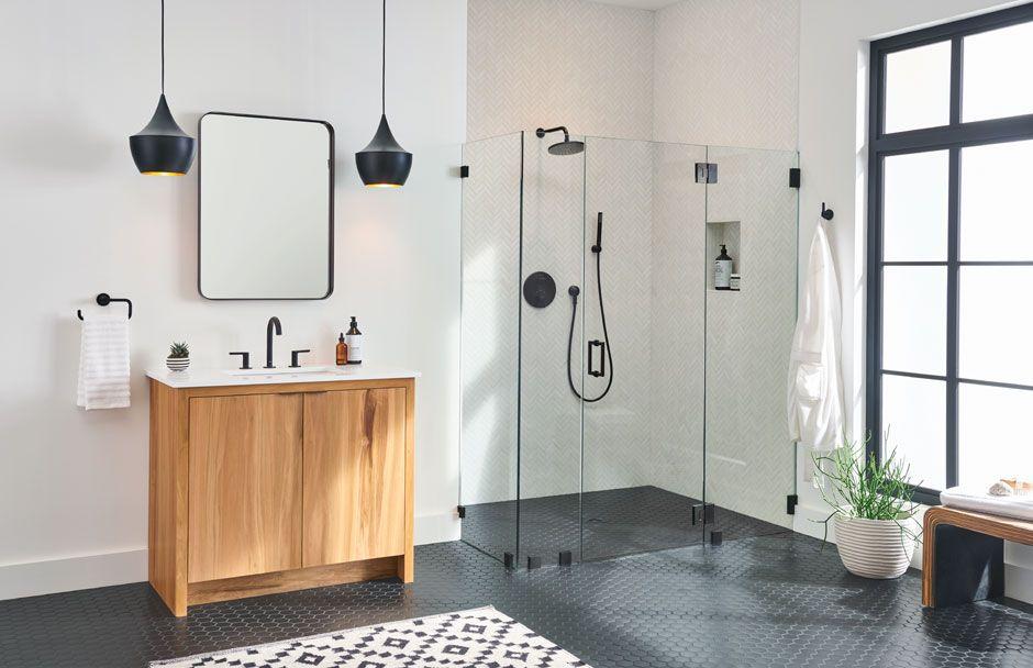 American standard black and white bathroom suite