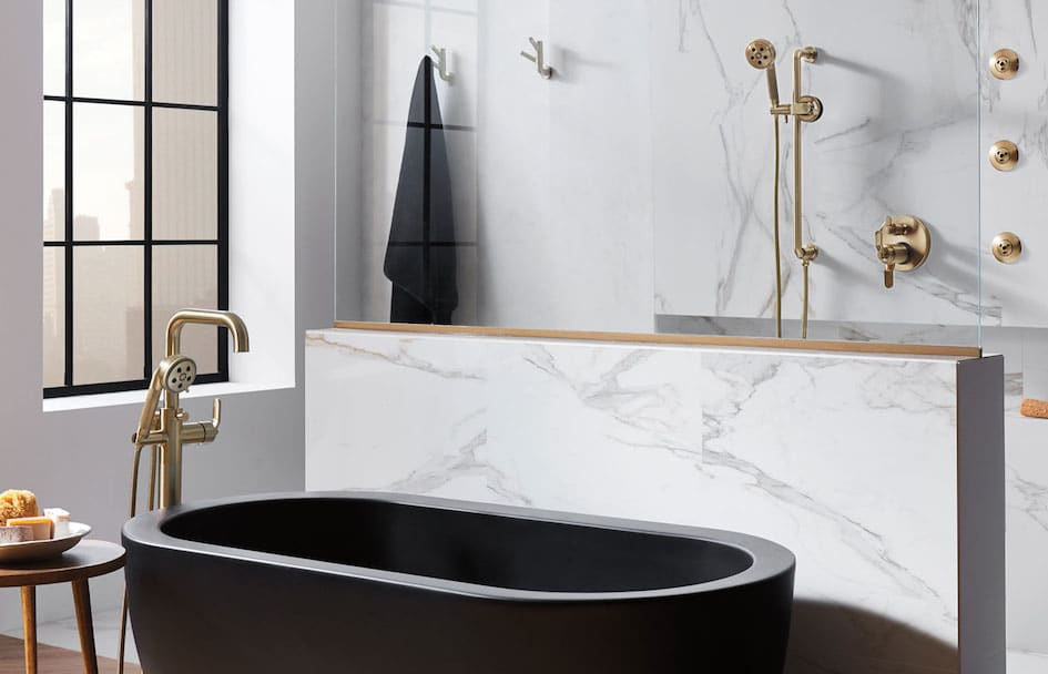 Brizo Matte Black Freestanding Tub and Bronze Faucets At Taps Bath Centres