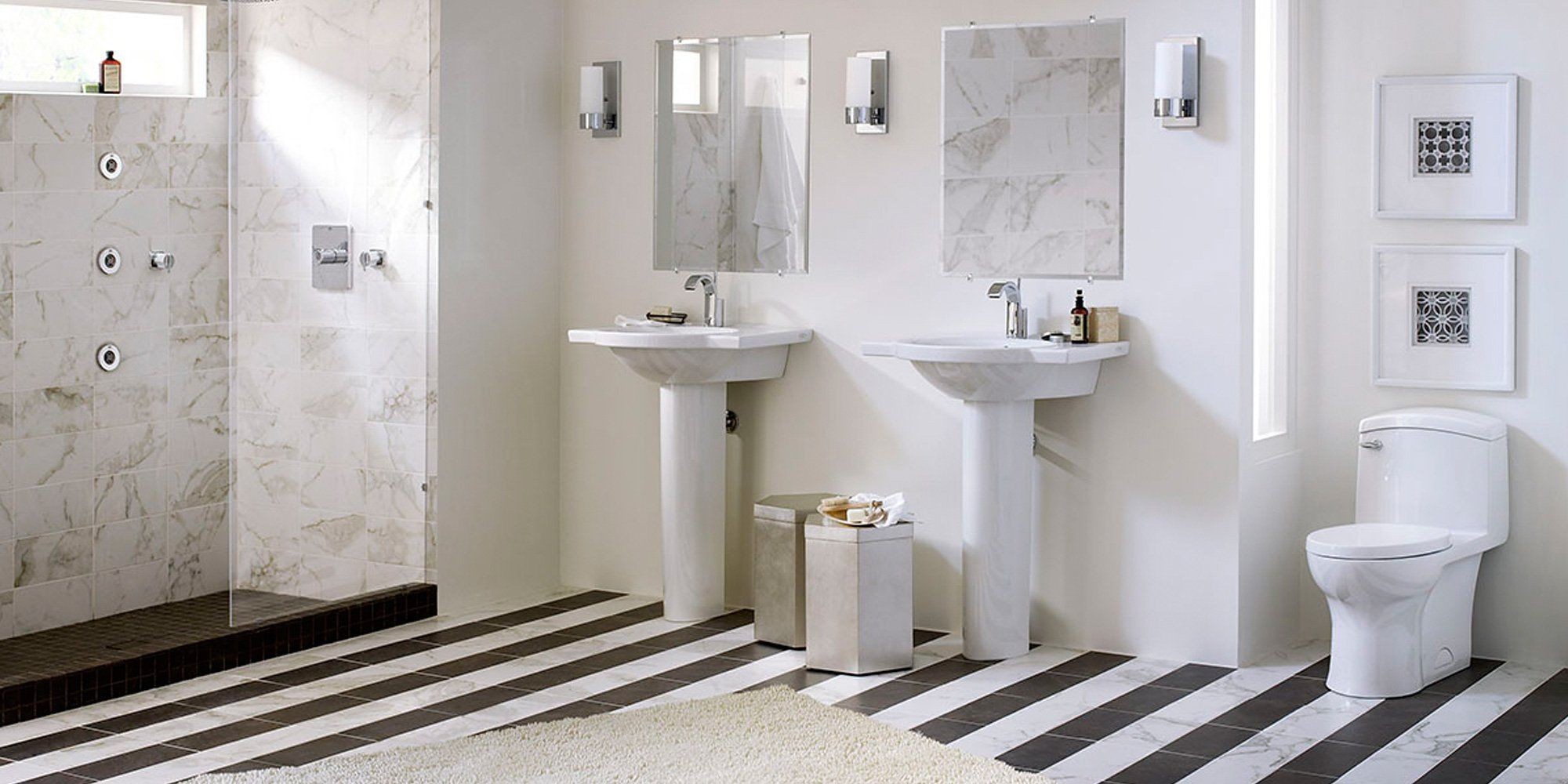 DXV American standard double sinks and walk in shower
