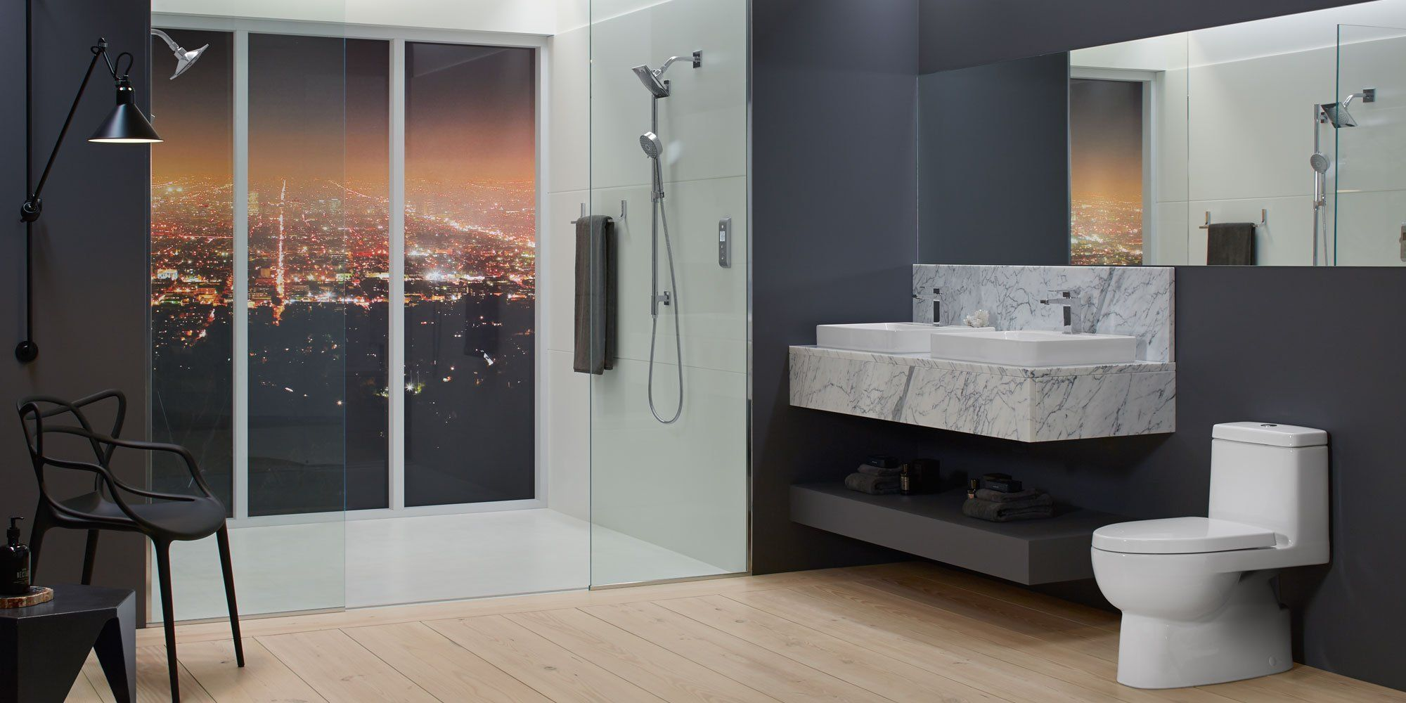 Kohler modern bathroom design with walk in shower