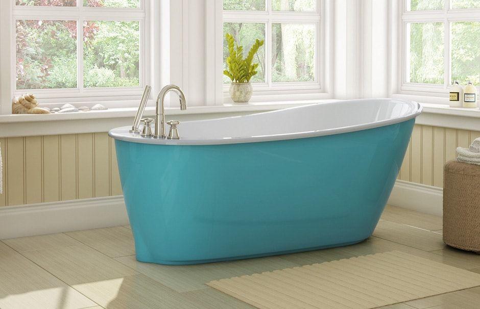 Maax blue curve bathtub at TAPS bath showrooms